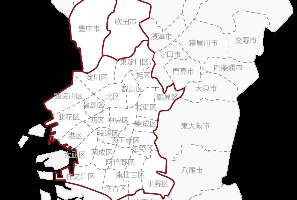 大阪市、豊中市、吹田市のマップ